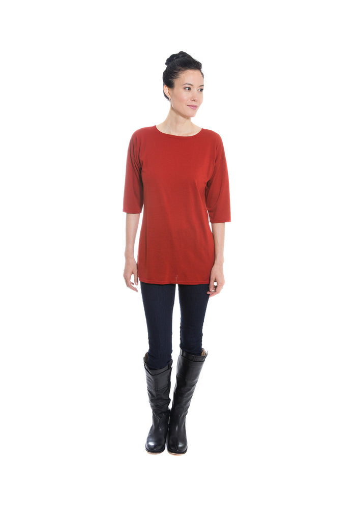 red merino wool jersey knit tunic by Jennifer Fukushima