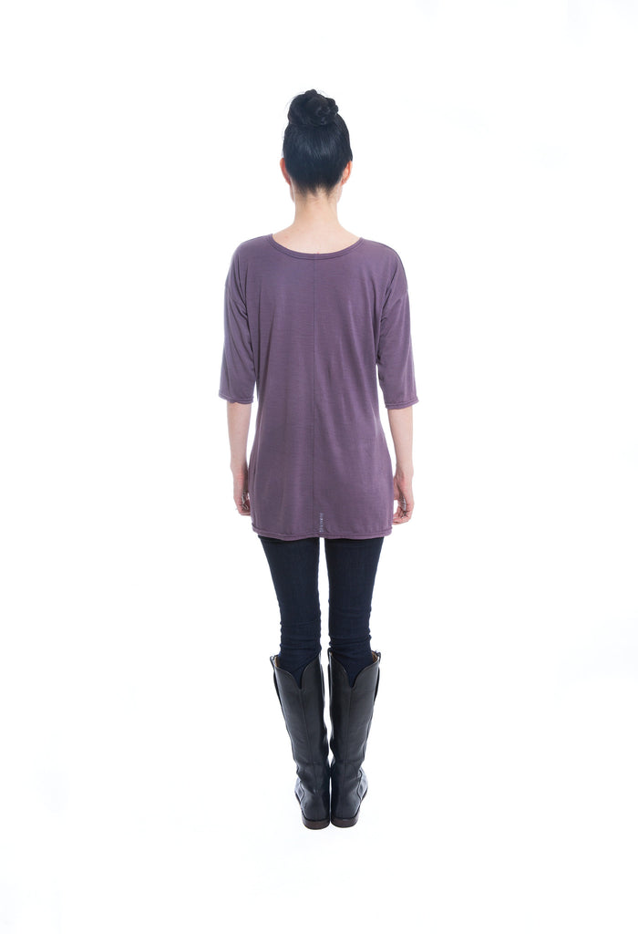 purple merino wool jersey knit tunic back view