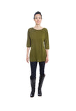 green merino wool jersey knit tunic by Jennifer Fukushima