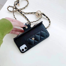 Load image into Gallery viewer, 2021 Luxury Spring Chanel Long Strip Flip Card Holder Half Protective 12 Mini Phone Case For 7G 8P XR XS MAX 11 12 Pro Max Phone Shell