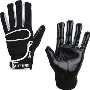 017LT-01-AS CUTTERS FOOTBALL GLOVES BLACK/WHITE SIZE ADULT SMALL