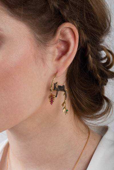 Asymetric Reclining Leopard Earrings With Flower