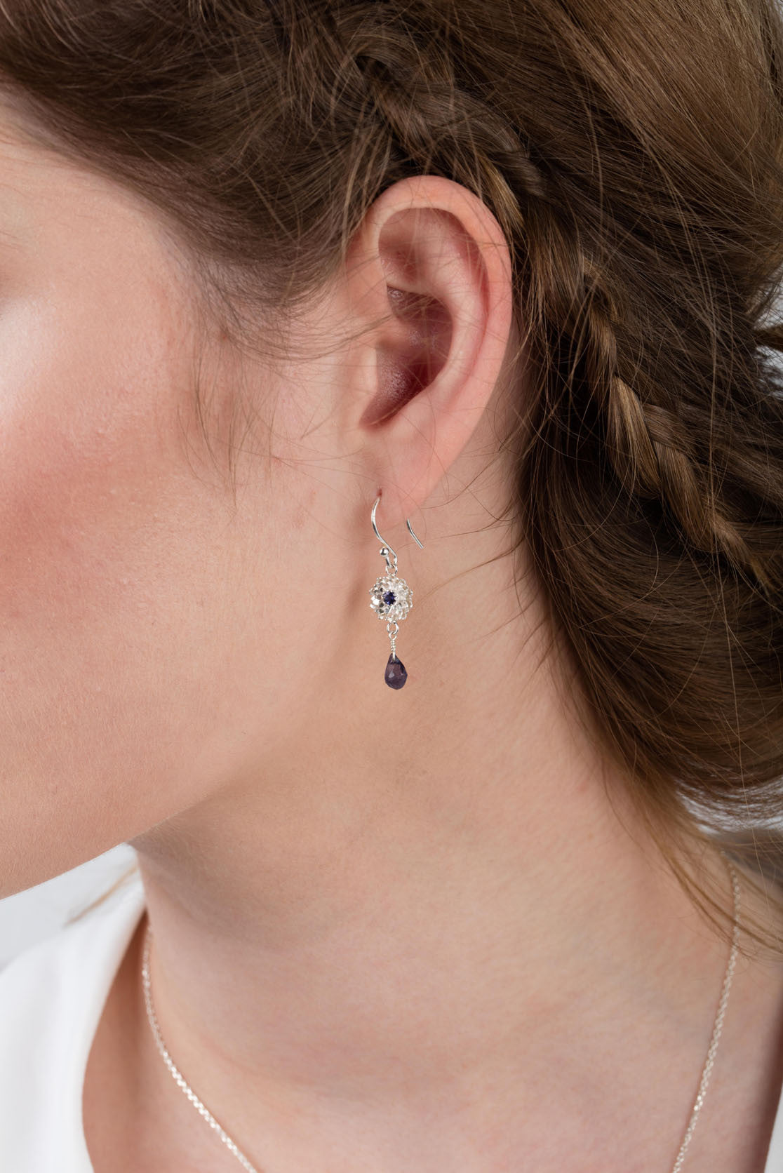 925 sterling silver with iolite centre and iolite drop