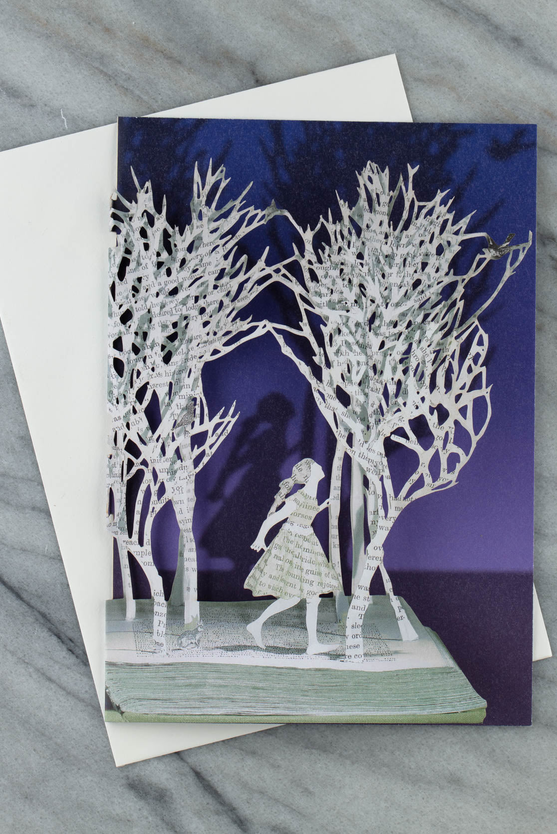 enchanted forest laser-cut greetings card by su blackwerll for roger la borde