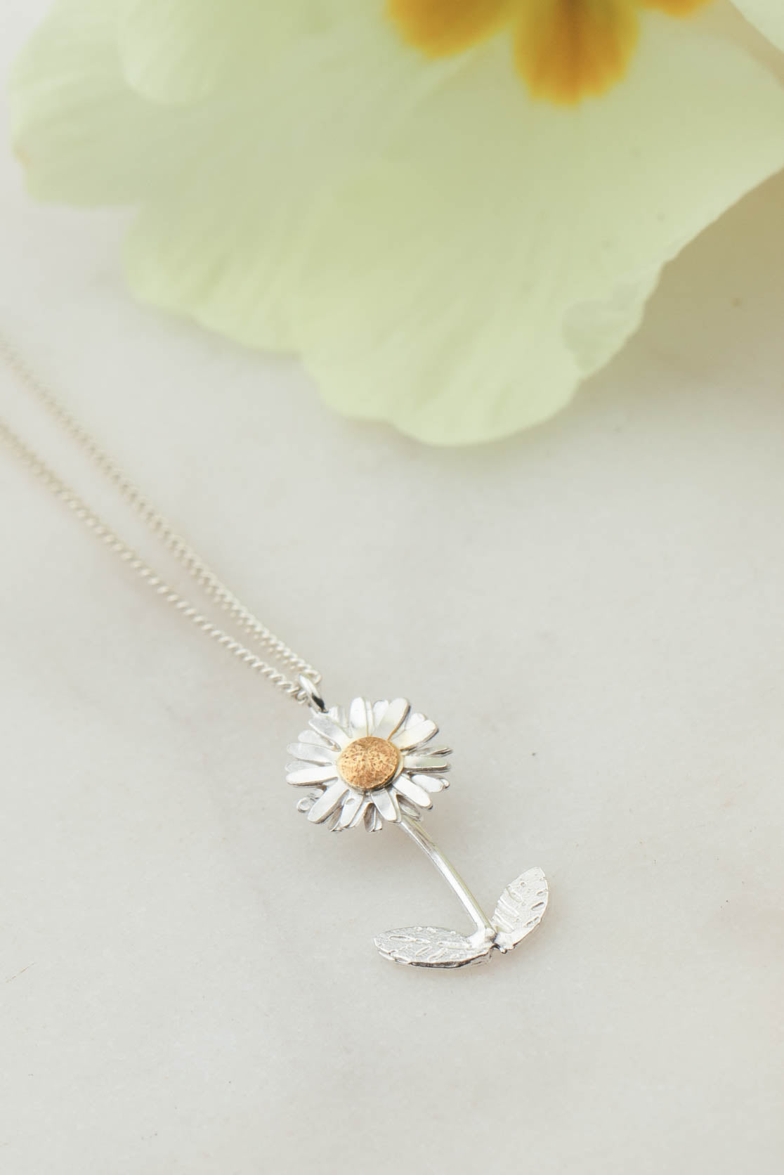 Sterling Silver and Gold Daisy Necklace - Daisy With Stalk