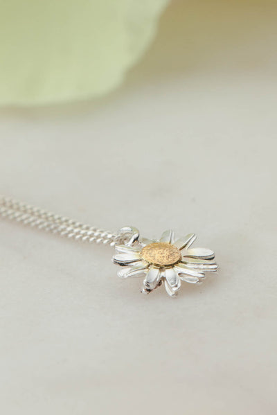 Sterling Silver and Gold Daisy Necklace - Daisy Flower Head
