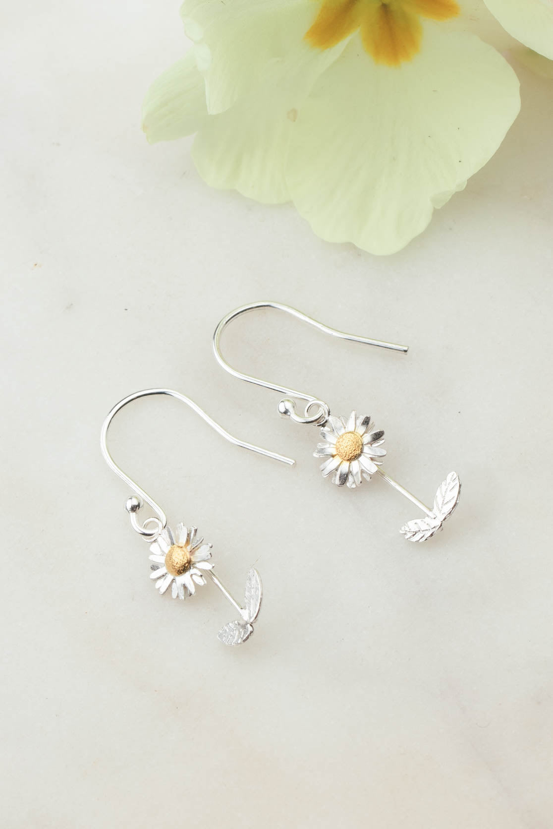 Sterling Silver and Gold Daisy Earrings - Daisy with Stalk on Hooks
