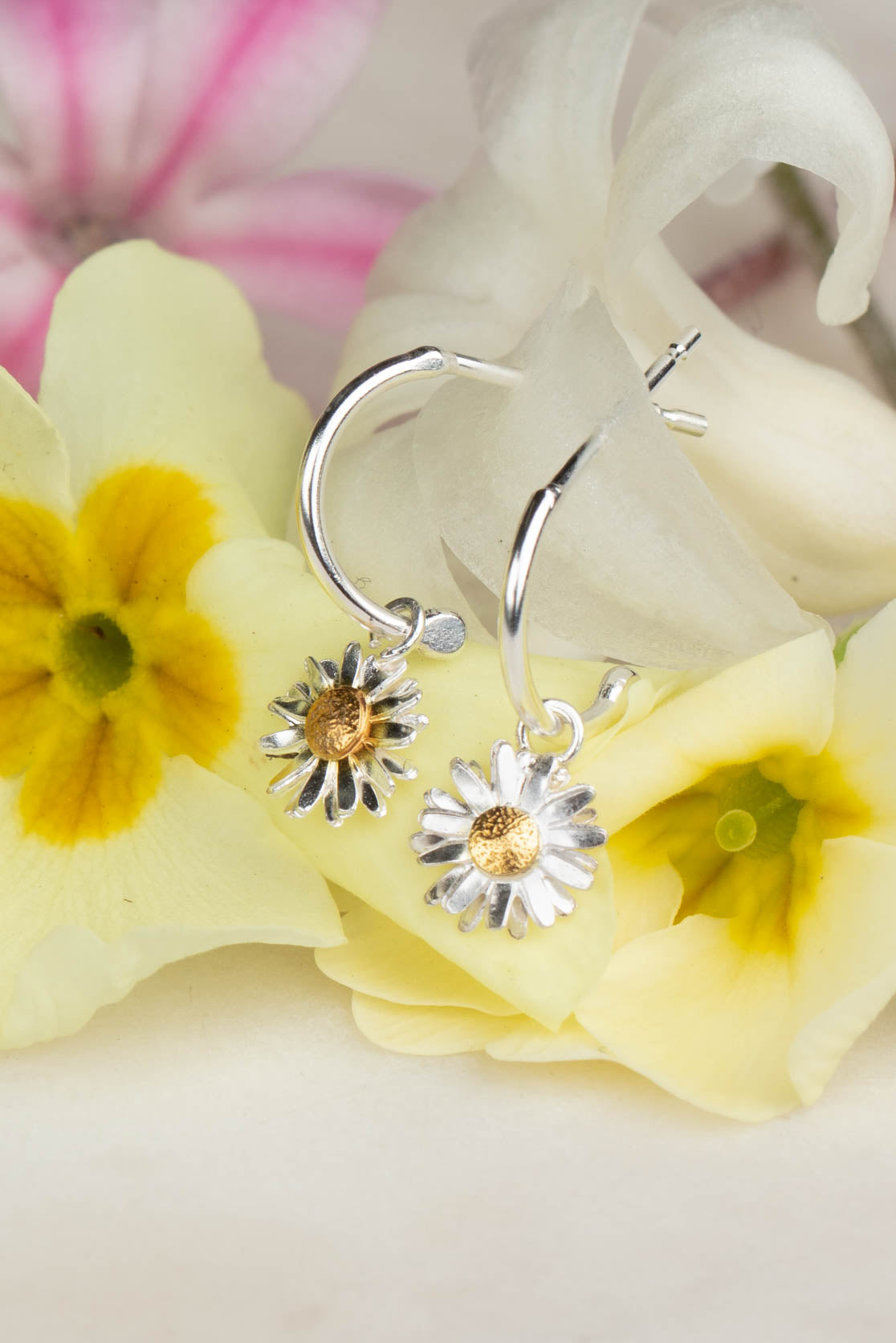 Sterling Silver and Gold Daisy Earrings - Daisy Flower Head on Hoops