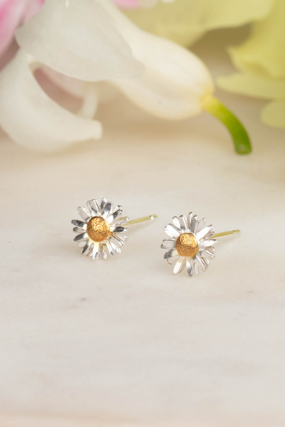 Sterling Silver and Gold Daisy Earrings - Daisy Flower Stud