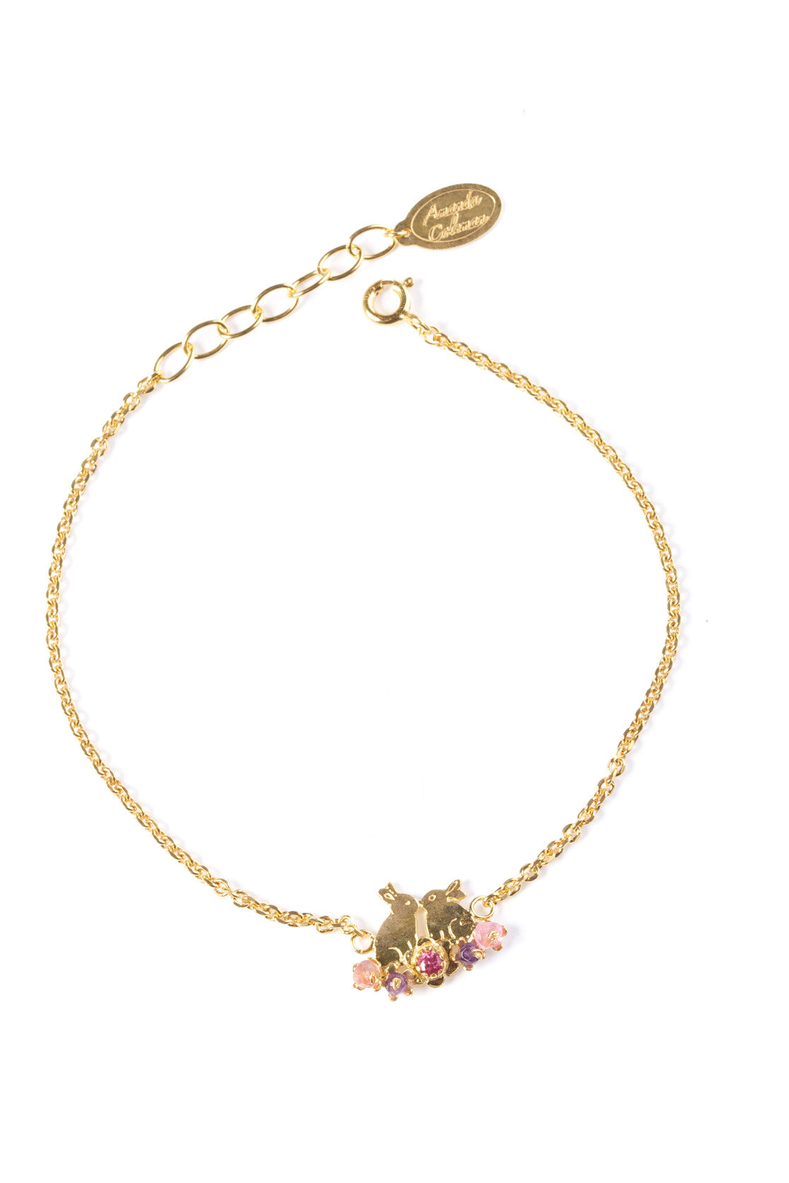 22ct Gold Vermeil with pink mix stones