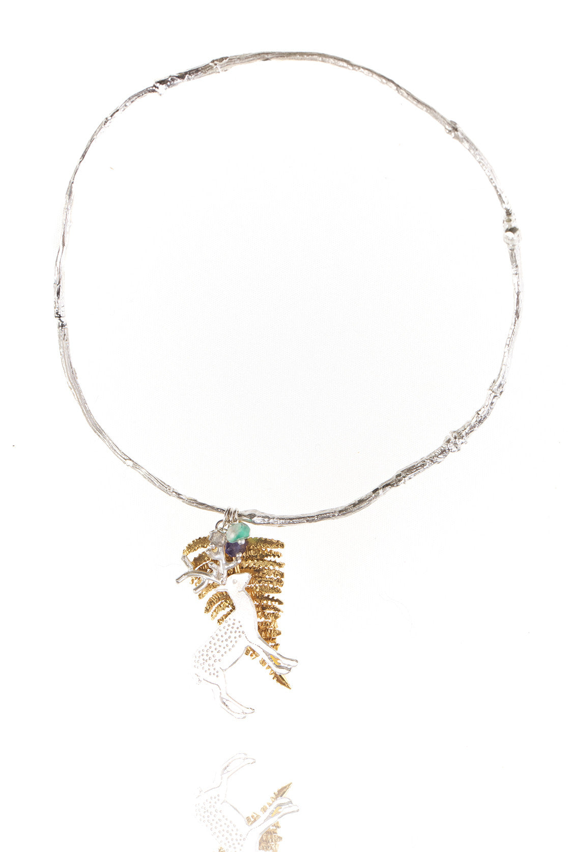 925 Sterling silver with 22ct gold vermeil fern