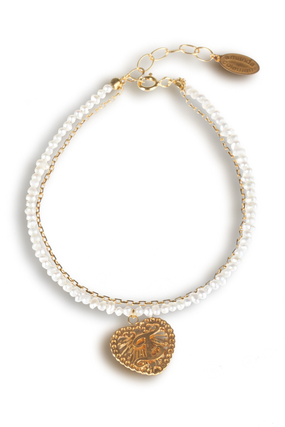 Initialed Love Heart and Pearl Bracelet