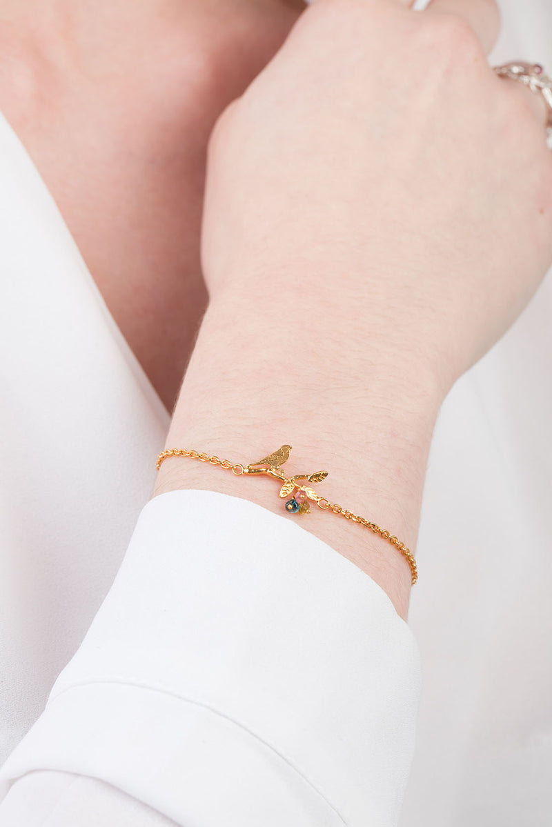 Tiny Bird on Branch Bracelet