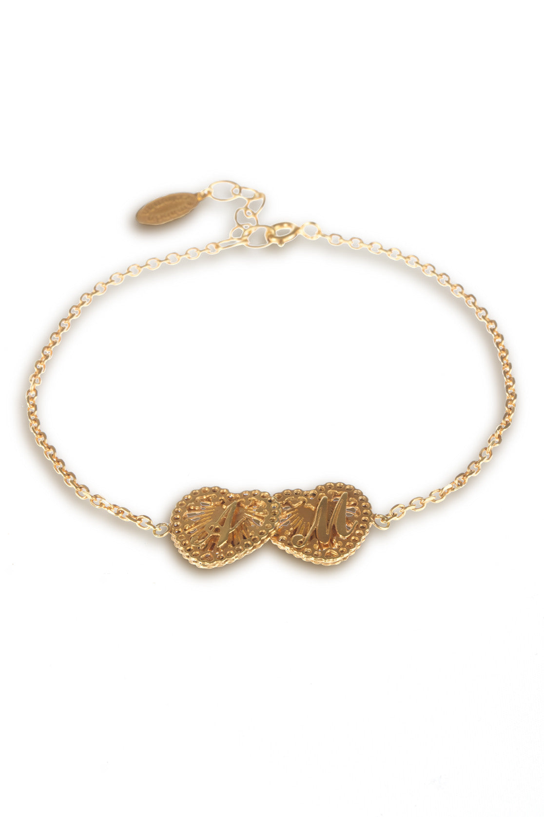 Initialed double Love Heart Bracelet
