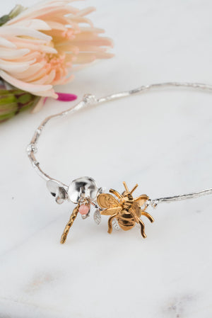 Sweet Pea And Bee Bangle