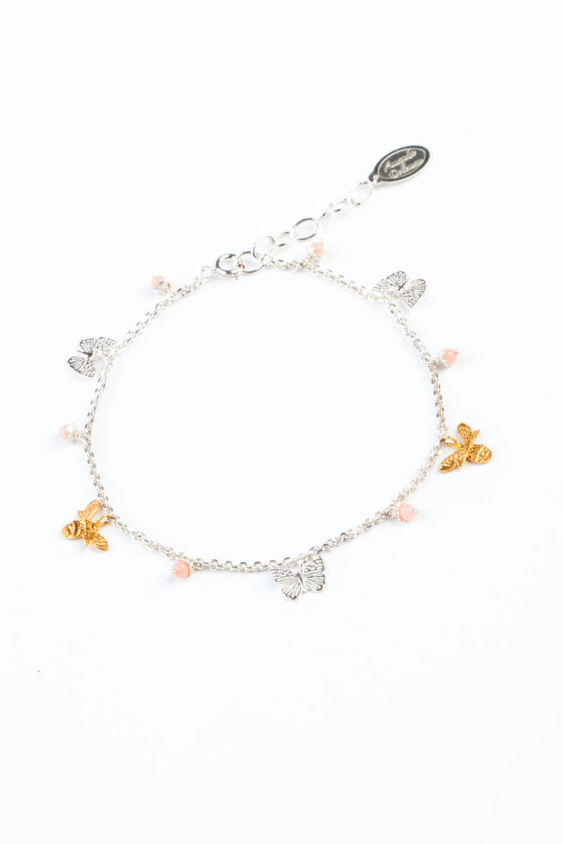mini bee and butterfly bracelet