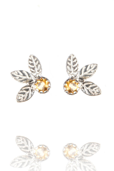 Triple leaf stud earrings