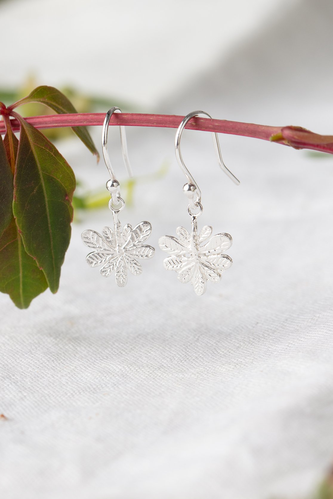 Aralia leaf hook earrings