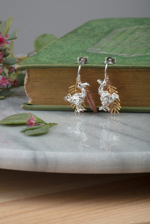 dodo and palm leaves earrings