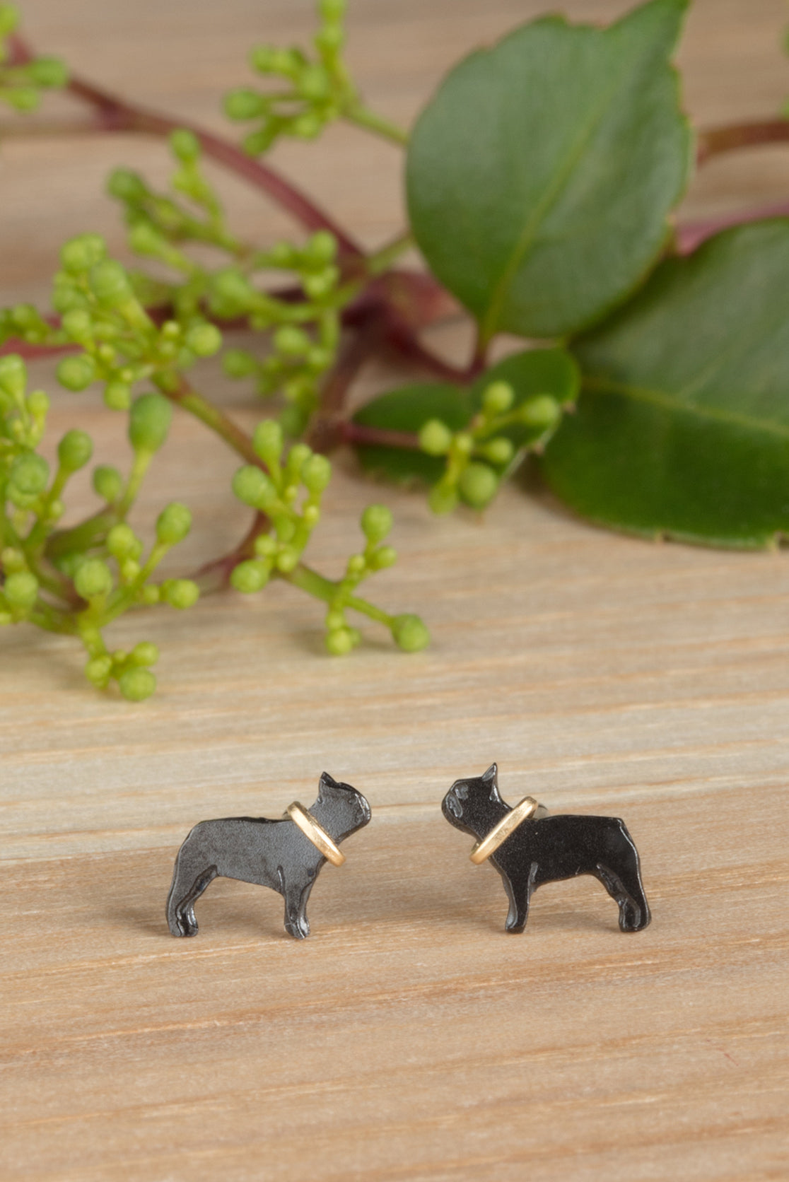 Black Ruthenium French Bulldog earrings