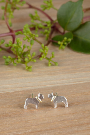 925 Silver French Bulldog earrings
