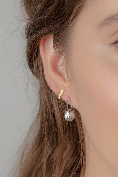 Cat Head Earrings On Mini Hoops