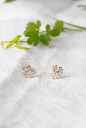 Monstera leaf stud earrings
