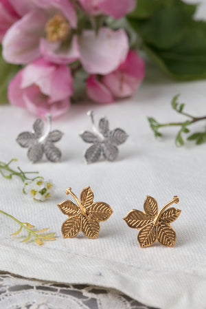 sycamore leaf earrings in 22ct gold plate and silver
