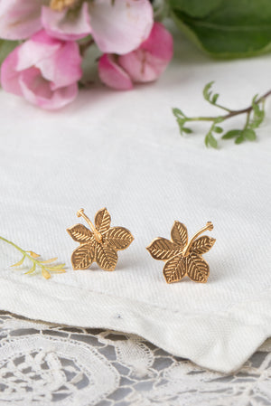 22ct gold plated sycamore leaf earrings