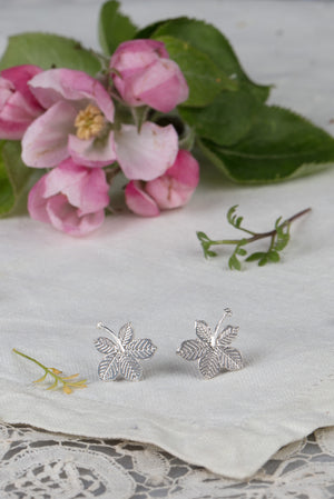 silver sycamore leaf earrings