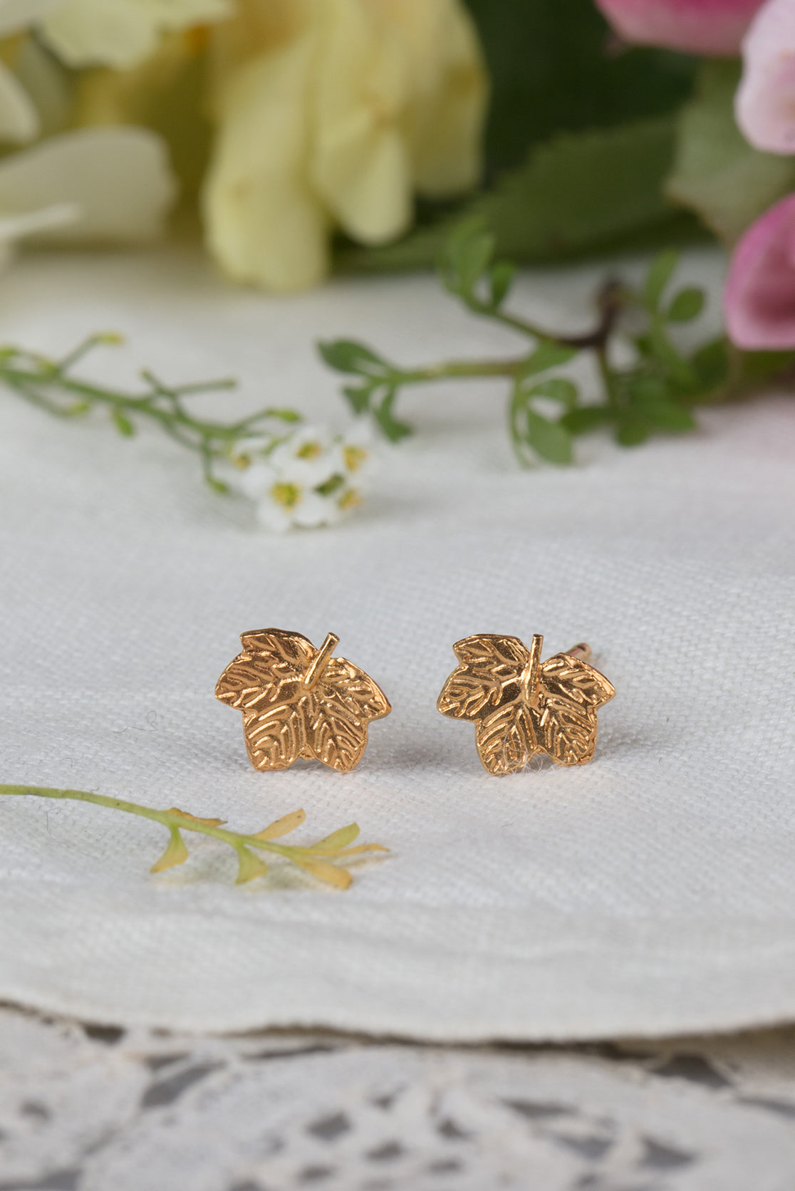 sycamore leaf earrings - small studs in 22ct gold plate