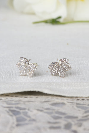sycamore leaf earrings - small studs in silver