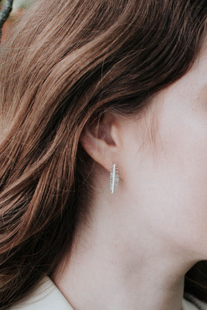 Long Palm Leaf Stud Earrings