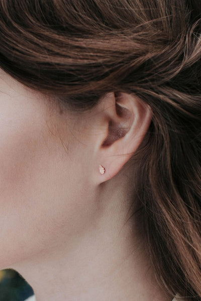 Tiny Oak Leaf Stud Earrings