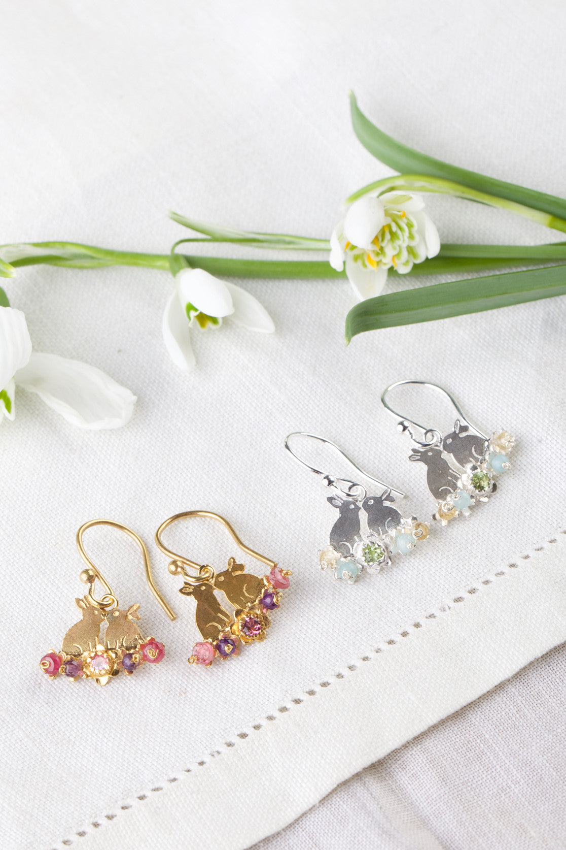 Kissing Bunnies and Flowers Hook Earrings