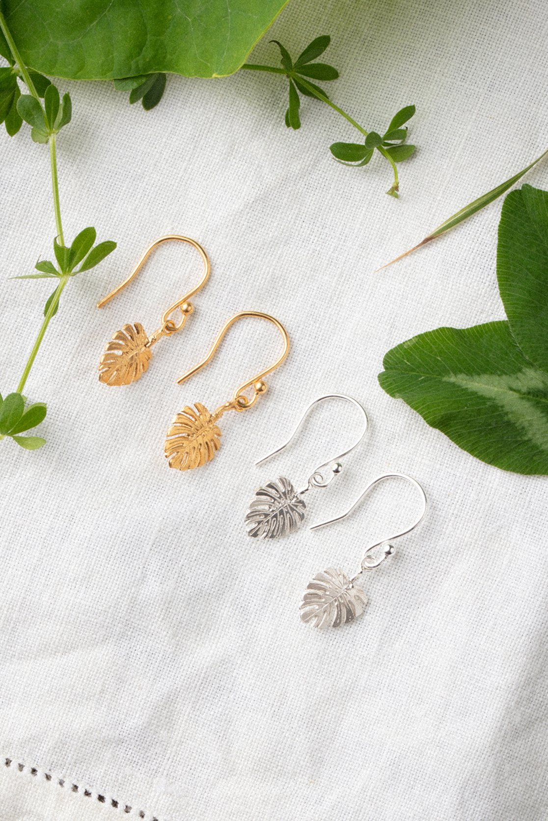 Monstera leaf hook earrings