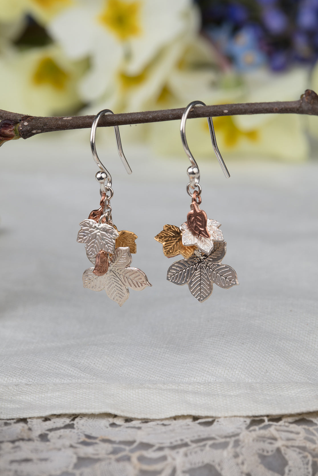 cluster leaf earrings