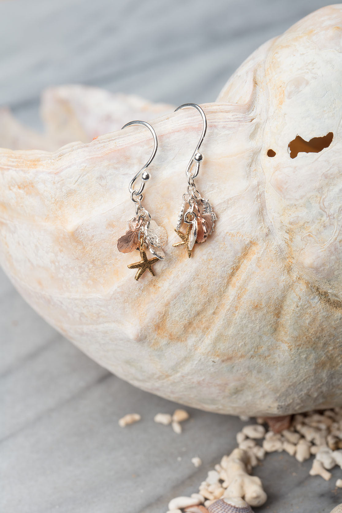 Shells And Seahorse Cluster Earrings