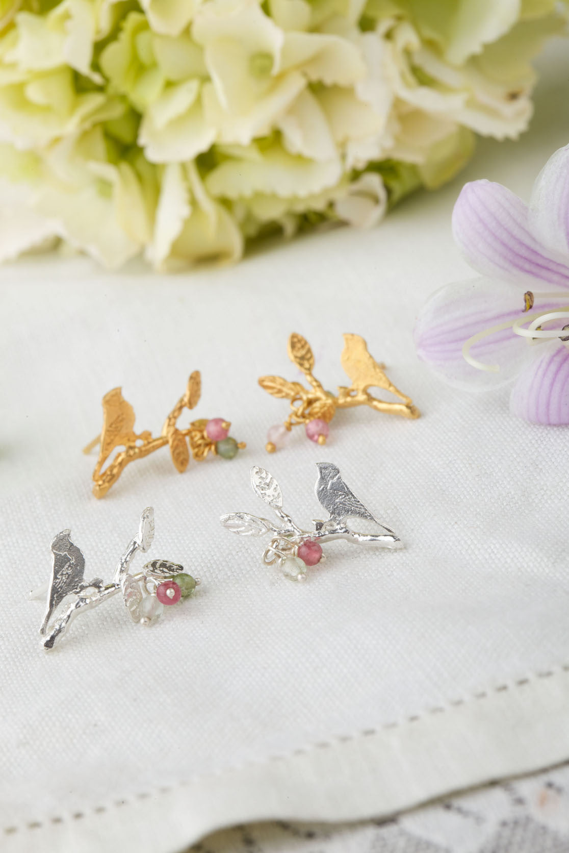 Bird On Branch With Leaves Earrings