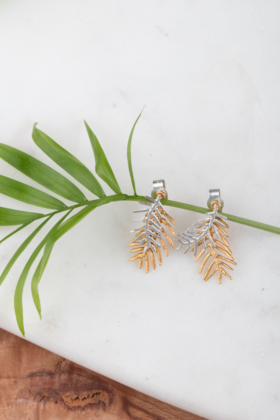 Double Palm Leaf Stud Earrings