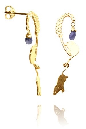 Playful field mice earrings
