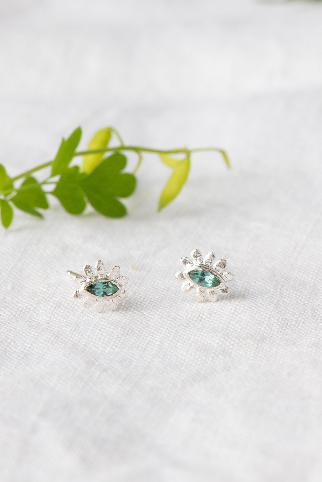 Marquise flower stud earrings