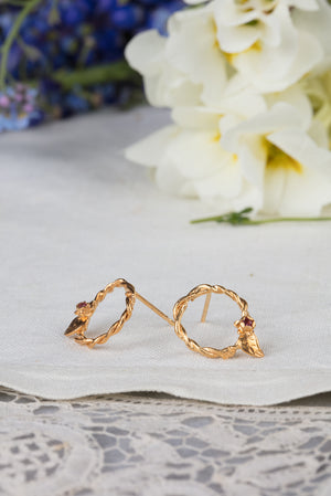 entwined vine circle earrings