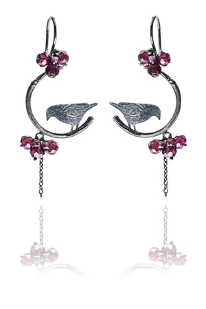 Raven on Branch Earrings