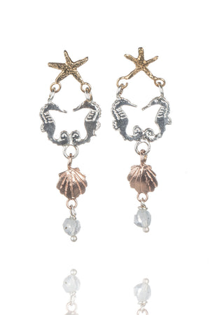 Double Seahorse Drop Earrings