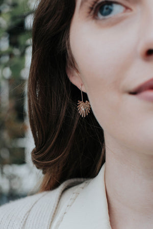 Fan Palm Leaf Hook Earrings