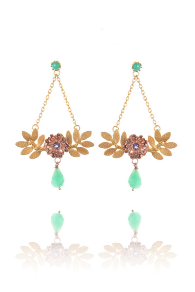 22ct gold vermeil with rose gold vermeil flowers - blue iolite with green drop