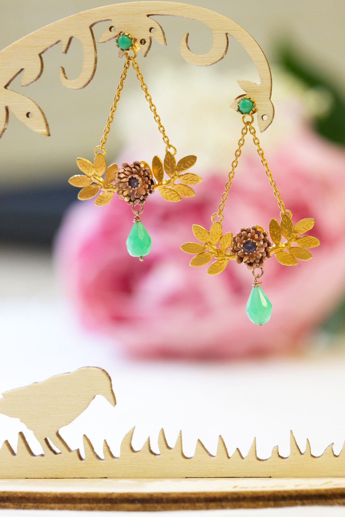 Dahlia Leaf and Chain Earrings