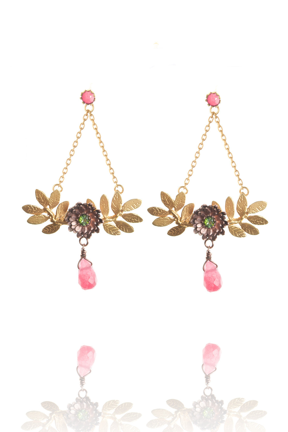 22ct gold vermeil leaves with rose gold flowers - green tourmaline with purple drop