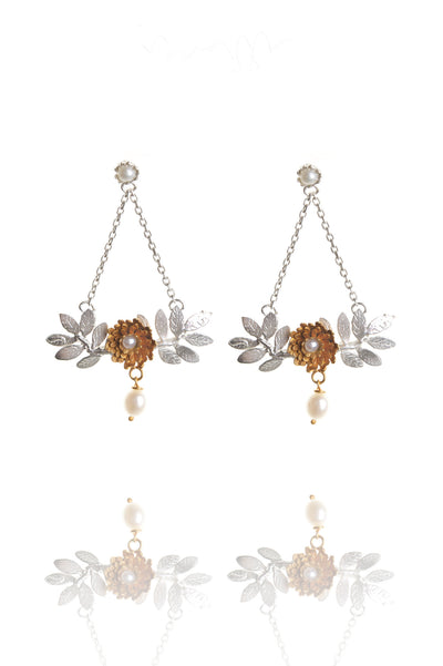 silver leaves with 22ct gold vermeil flower - pearl with pearl drop